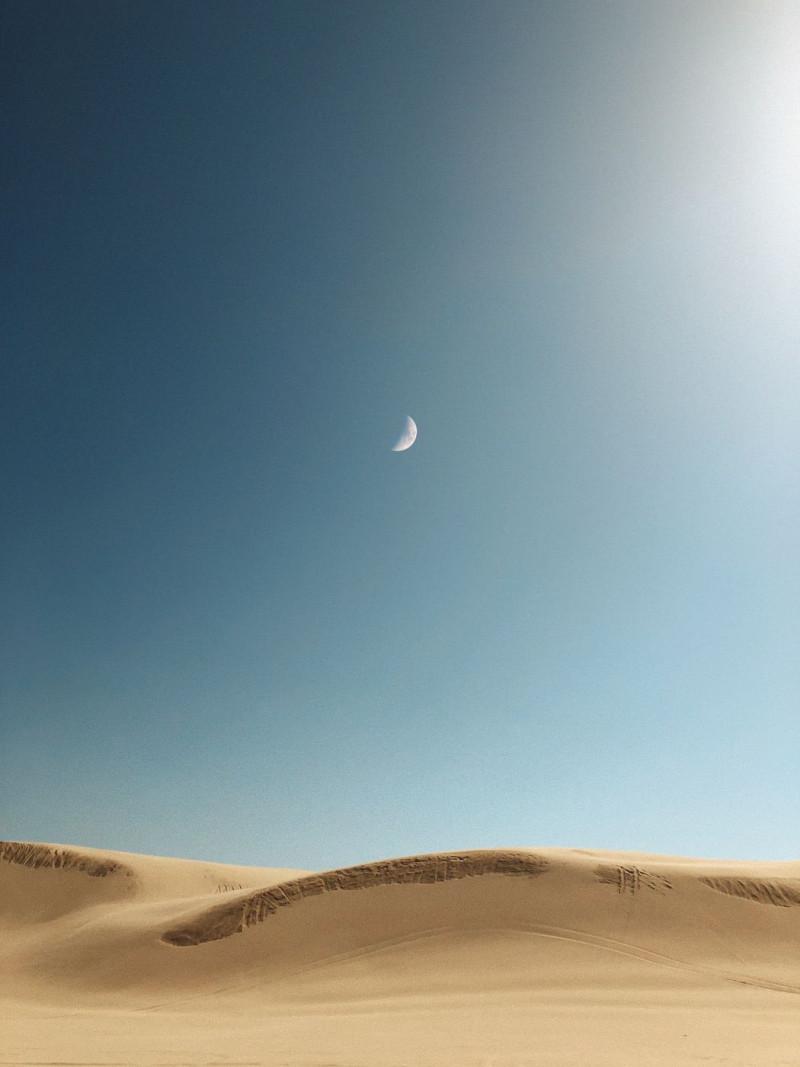 The moon above the desert